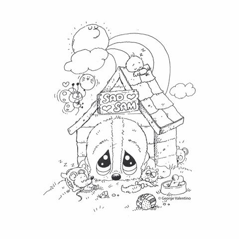 480x480 Dog House Coloring Book Page Sad Sam And Honey