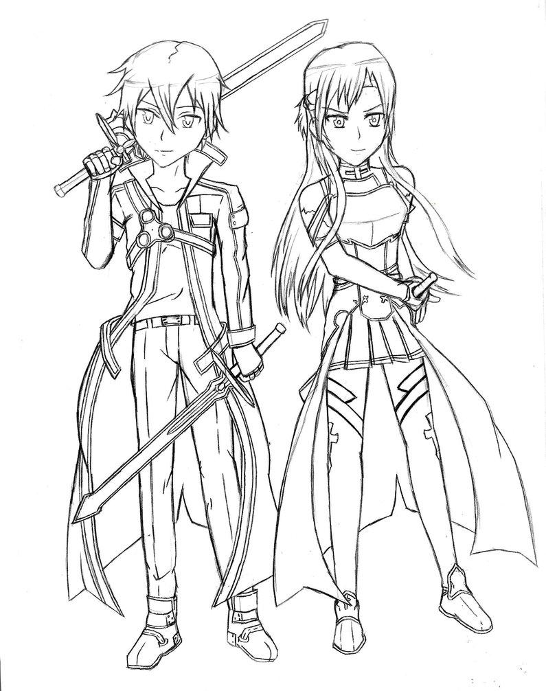 795x1006 New Kirito And Asuna Coloring Pages Sword Art Online Drawing