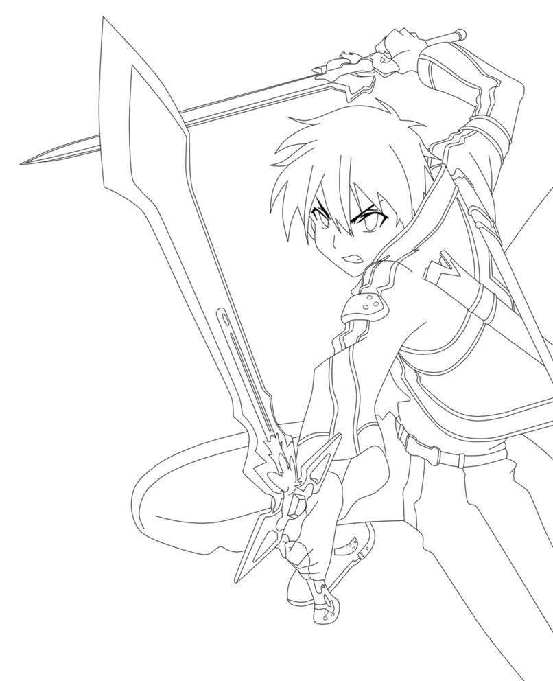 806x992 On Sword Art Online Coloring Pages Kirito