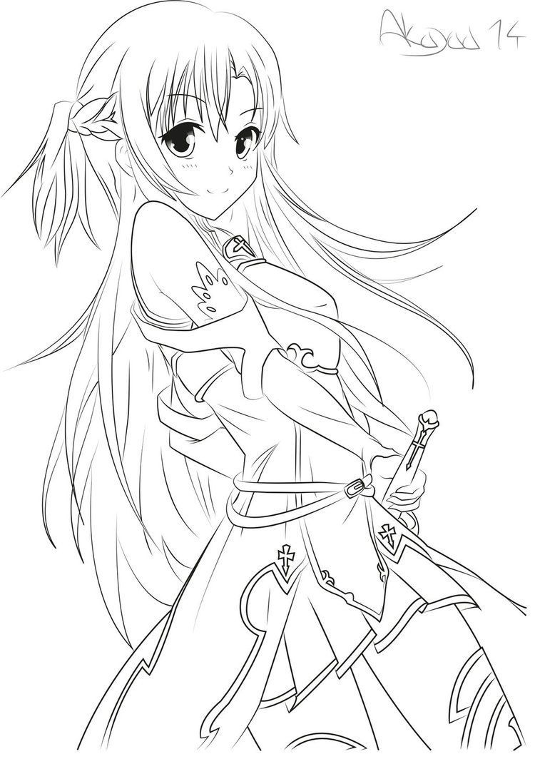 750x1064 The Best Sword Art Online Coloring Pages Paginone Biz Pic