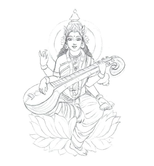 629x678 Goddess Saraswati Coloring Pages Sketch