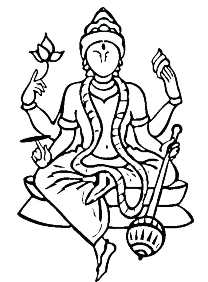 728x990 Saraswati Coloring Pages Coloring Goddess Learn To Draw Goddess