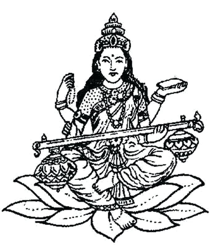 690x800 Saraswati Coloring Pages Free Coloring Page Image Of The Goddess