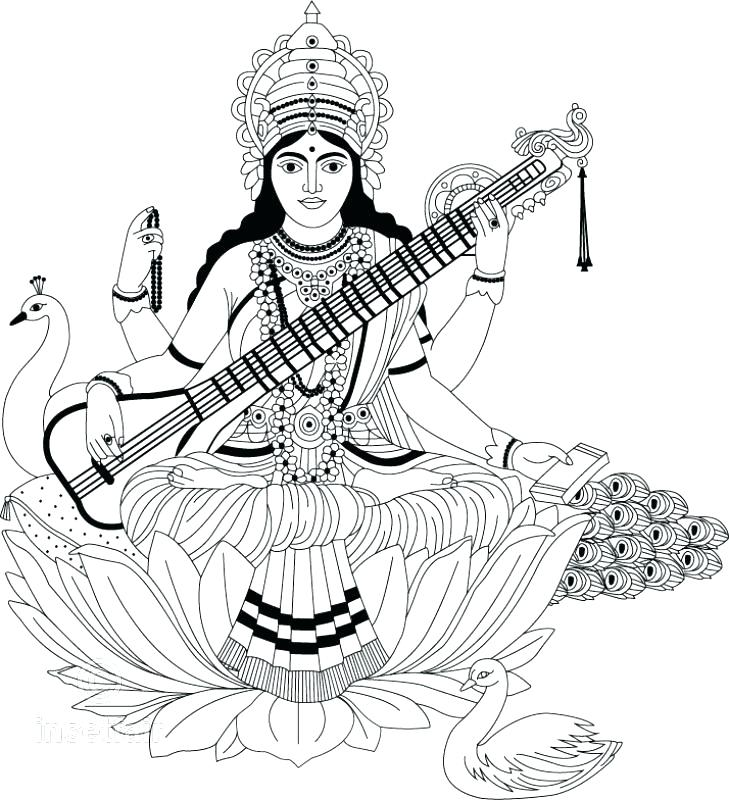 729x800 Goddess Saraswati Coloring Pages Coloring Pages Colouring Pages