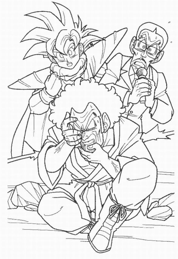 587x853 Dragon Ball Z Coloring Page Featuring Gohan And Hercule Satan! Xd