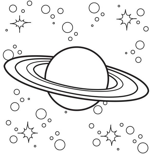 600x600 Saturn In Space Coloring Pages