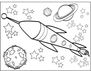 300x235 Saturn And Spaceship In Free Printable Space Coloring Pages