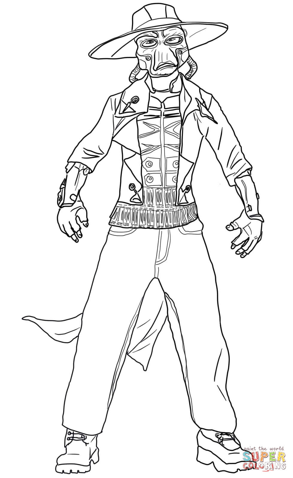 979x1600 Cad Bane Coloring Page Free Printable Pages With Kit Fisto
