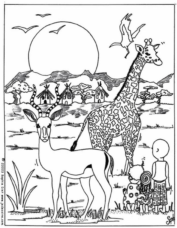 622x800 African Savanna Coloring Pages, Safari Or African Savanna