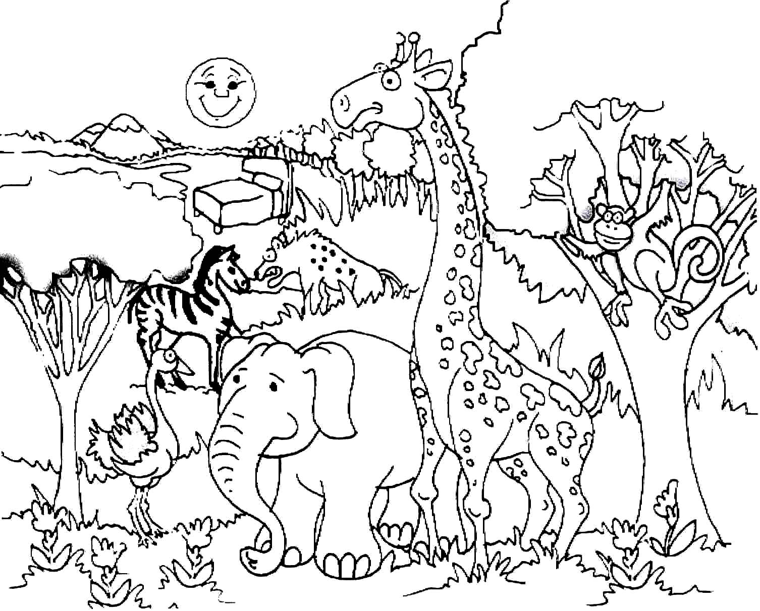 Savanna Animals Coloring Pages at GetDrawings | Free download