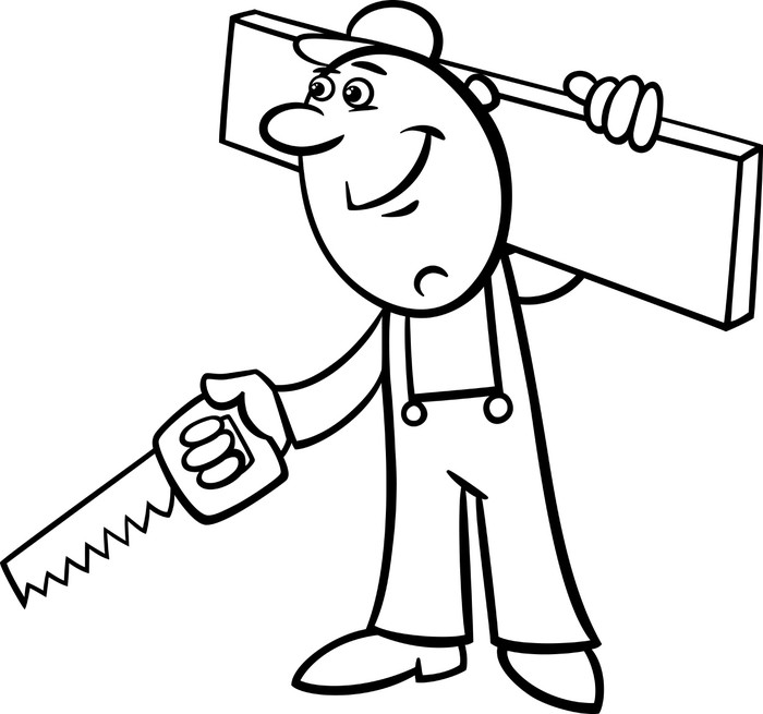 700x655 Worker With Saw Coloring Page Wall Mural We Live To Change