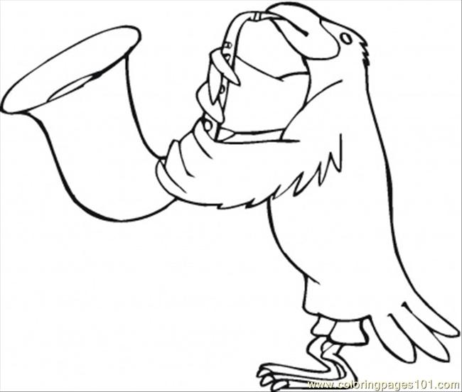 650x552 Bird Is Playing Saxophone Coloring Page