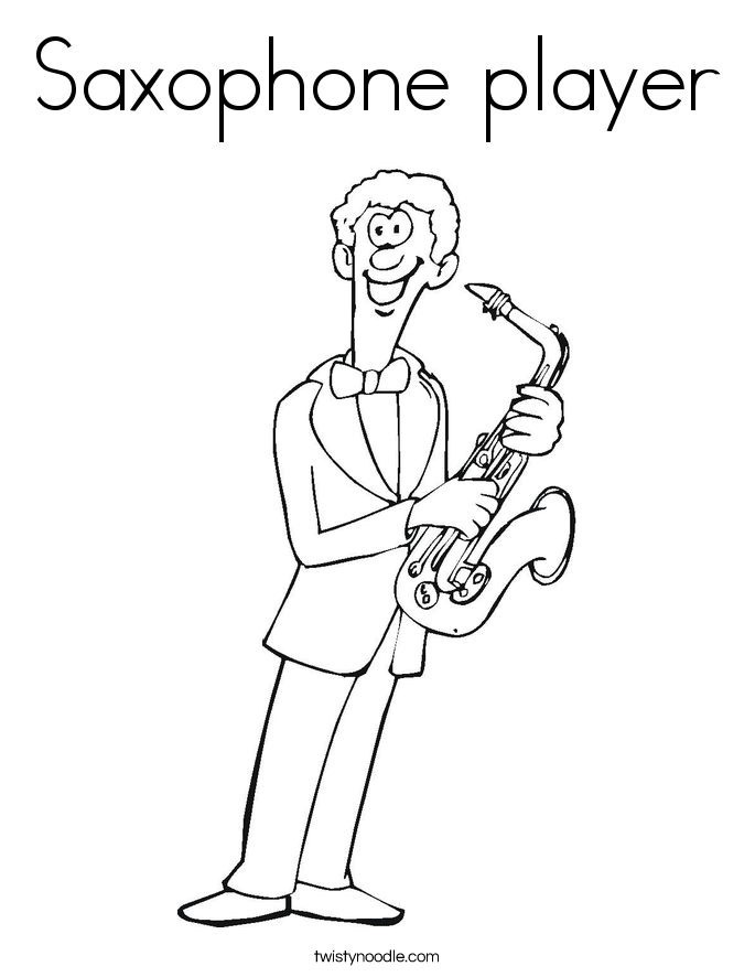 685x886 Saxophone Player Coloring Page