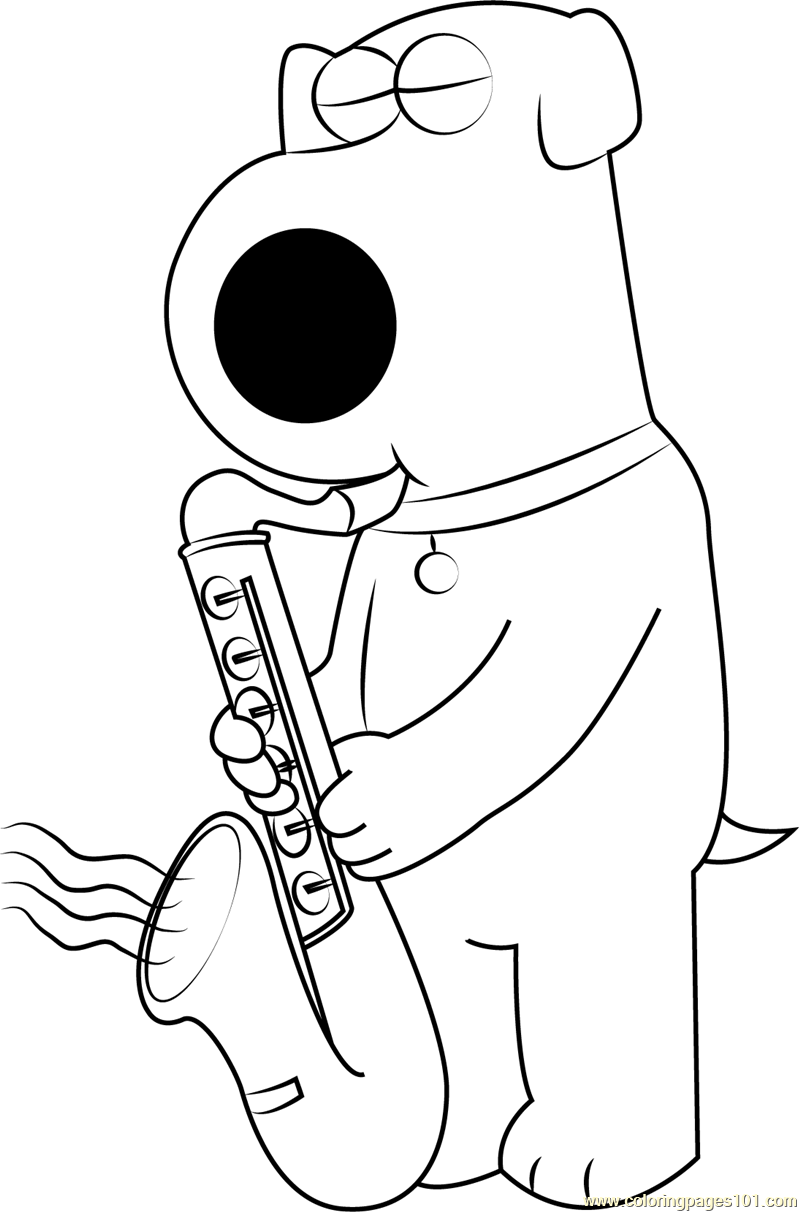 800x1212 Brian Griffin Playing Saxophone Coloring Page