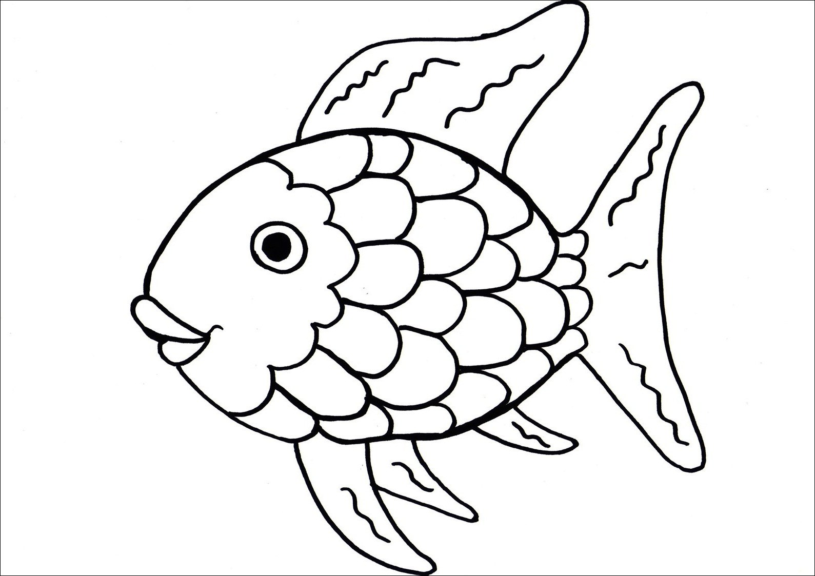 1589x1123 Fish With Scales Coloring Page