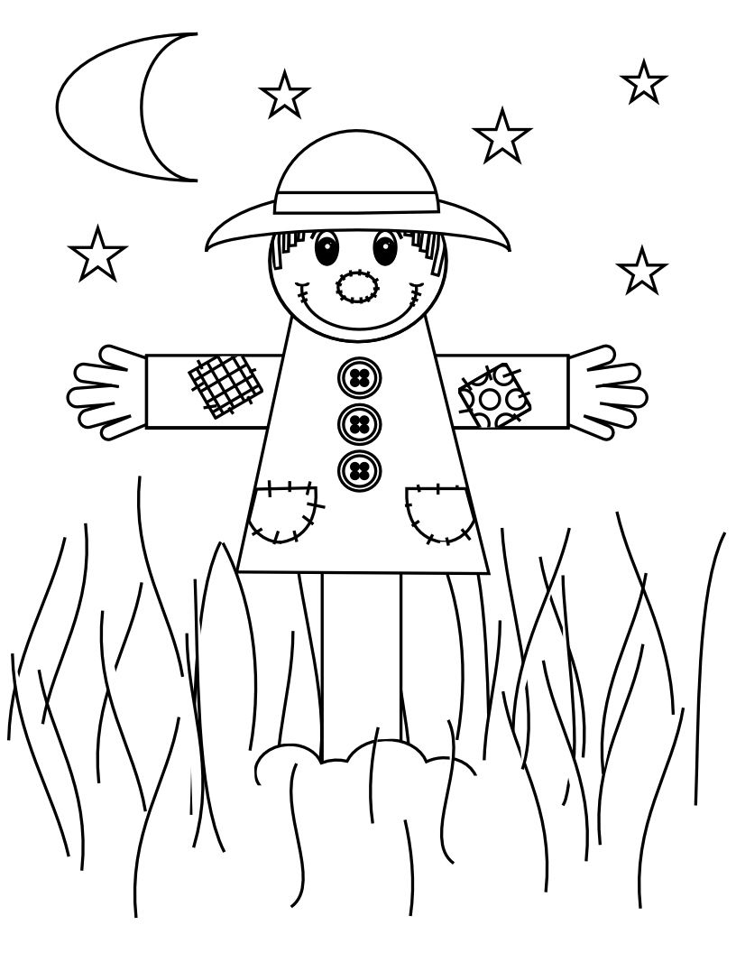 816x1056 Funny Scarecrow Coloring Page Http Coloringpage Co Arresting Head