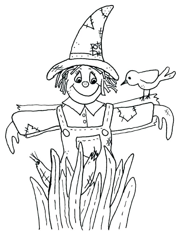 618x816 Girl Scarecrow Coloring Page