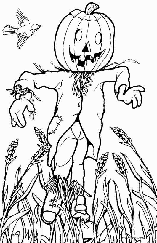 530x820 Printable Scarecrow Coloring Pages For Kids
