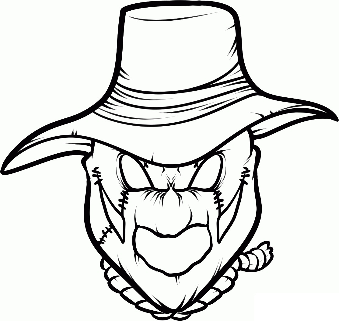 1114x1055 Scarecrow Coloring Pages
