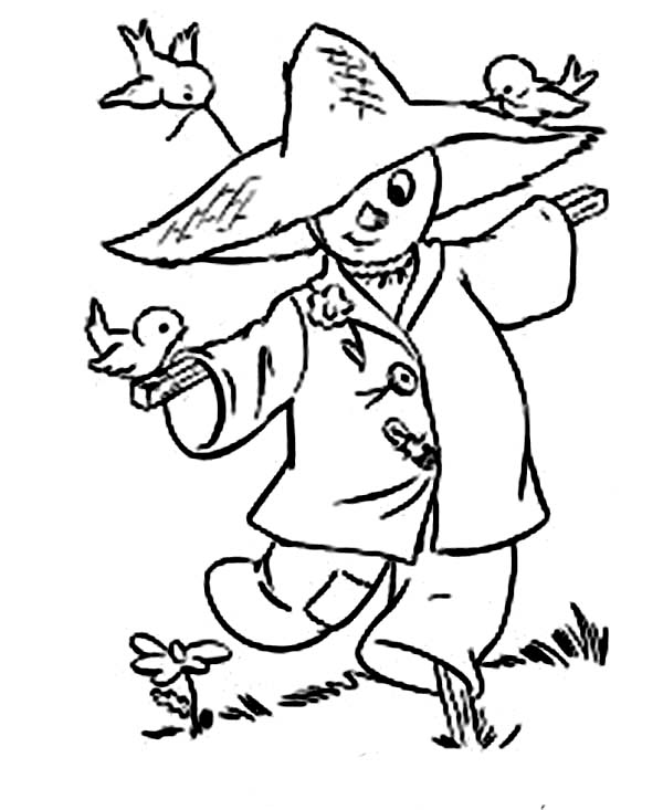 600x733 Scarecrow And Three Little Birds In Autumn Coloring Pages Batch