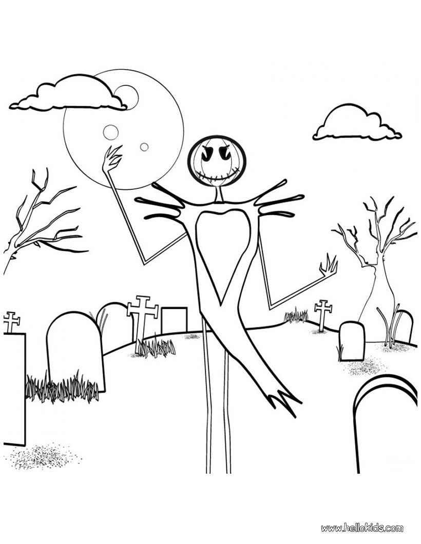 820x1060 Skeleton Scarecrow In Graveyard Coloring Pages