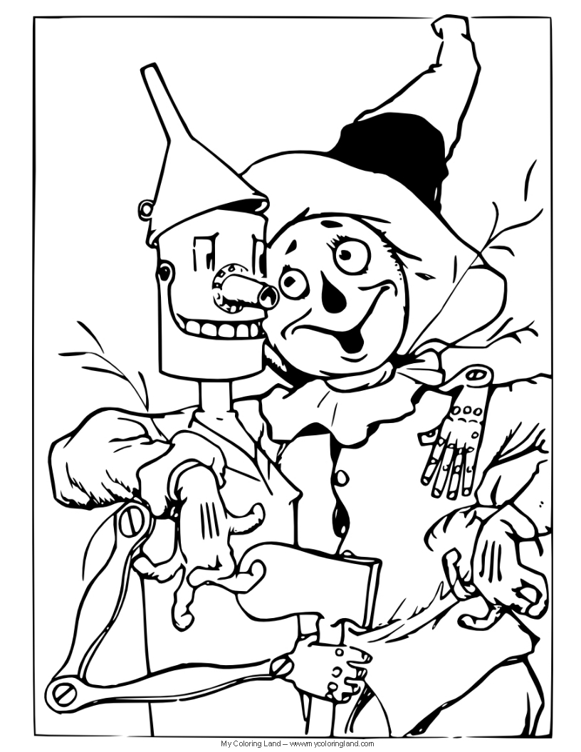 816x1056 Wizard Of Oz Coloring Pages Tin Man And Scarecrow