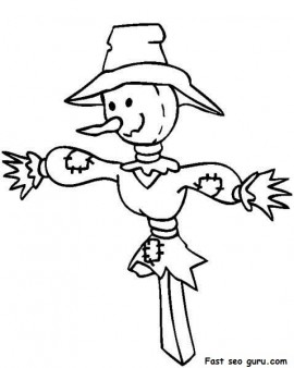 270x338 Printable Thanksgiving Scarecrow Coloring Page