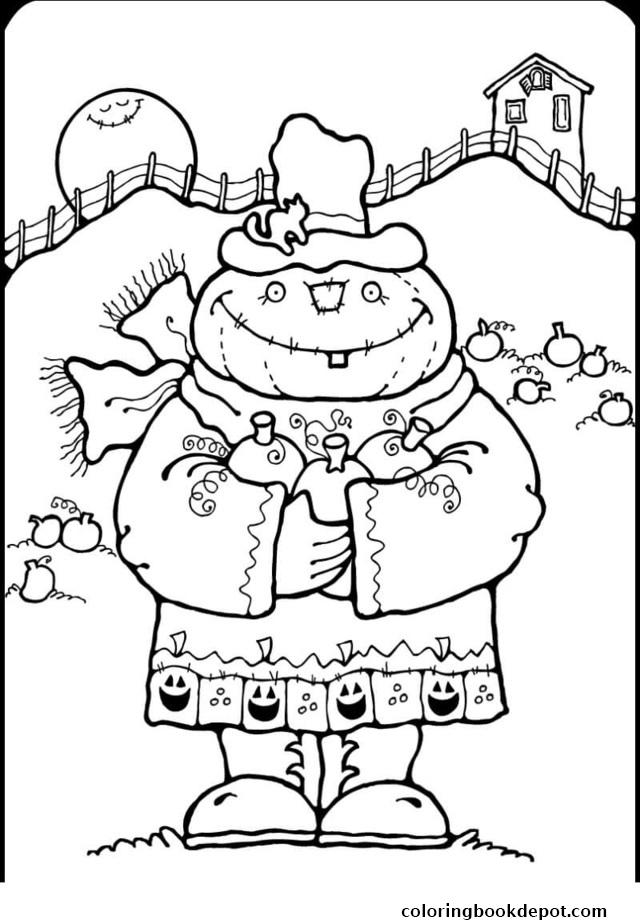 640x924 Scarecrow Halloween Coloring Pages