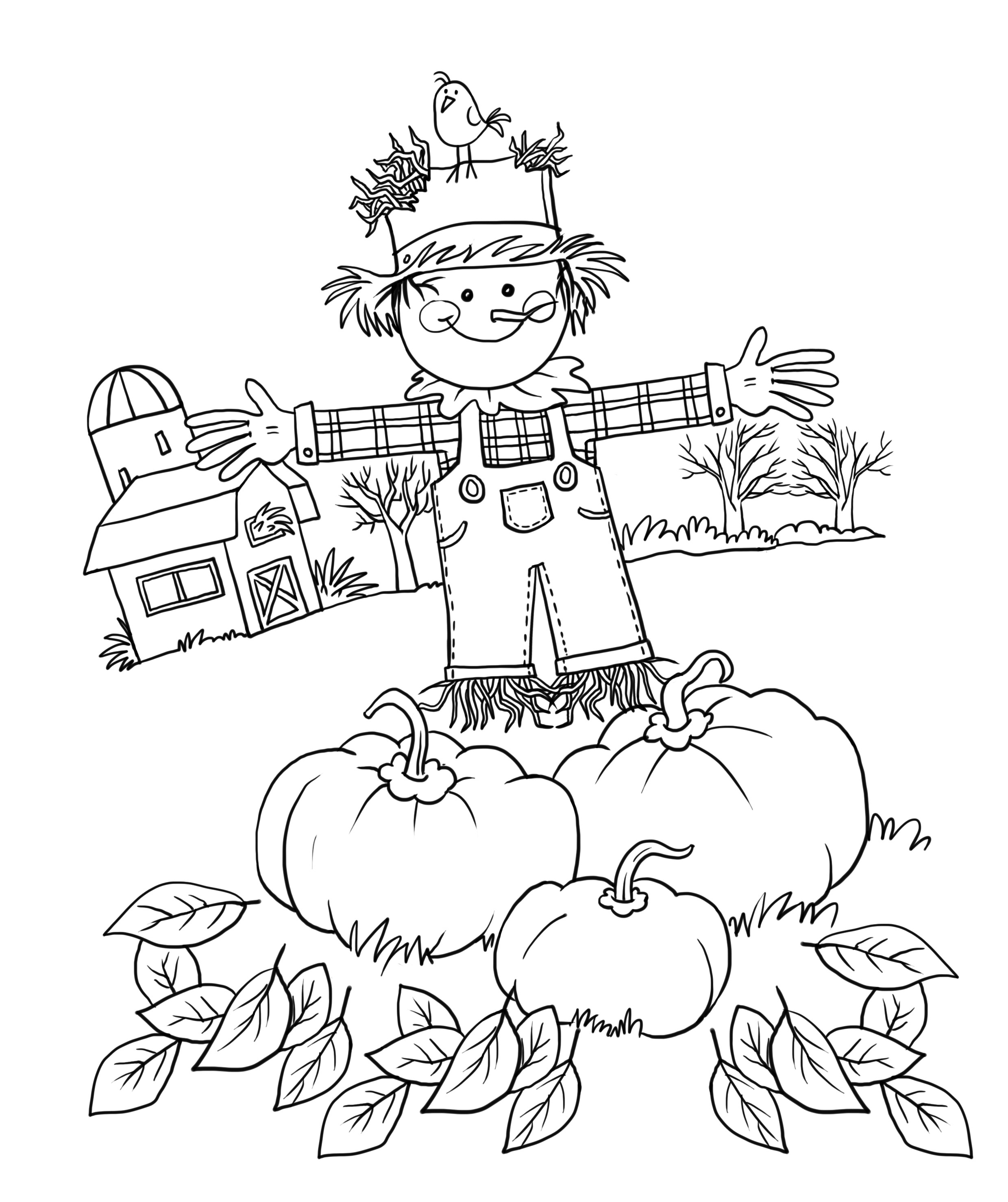 2479x2955 Cute Scarecrow Coloring Pages Wagashiya