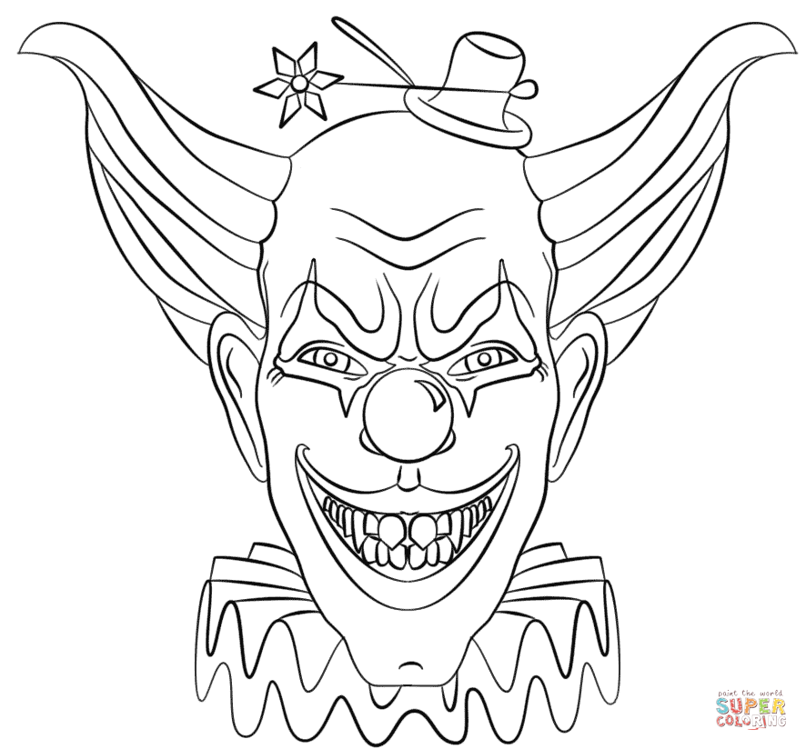 886x824 Evil Clown Face Coloring Page Free Printable Coloring Pages