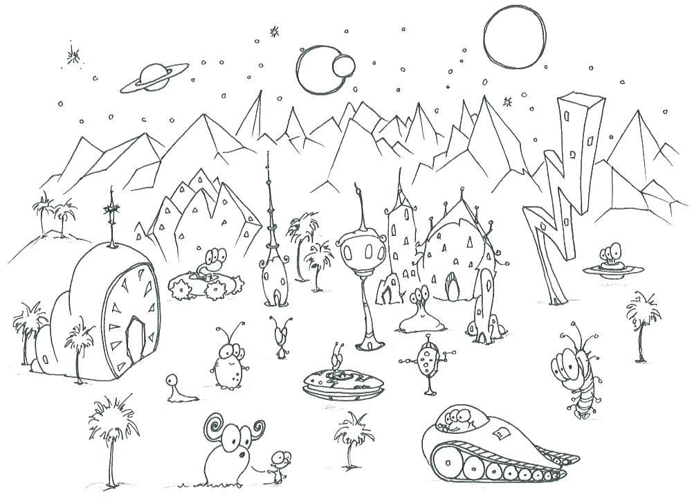 1000x721 Alien Coloring Pages Scary Alien Coloring Pages Cartoon Alien