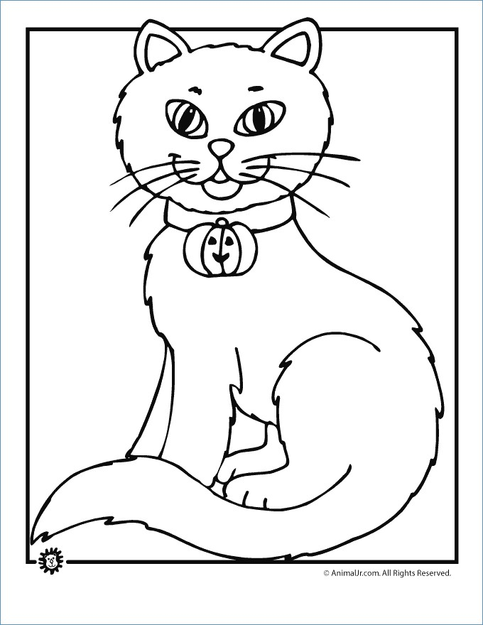 680x880 Scary Cat Halloween Coloring Pages
