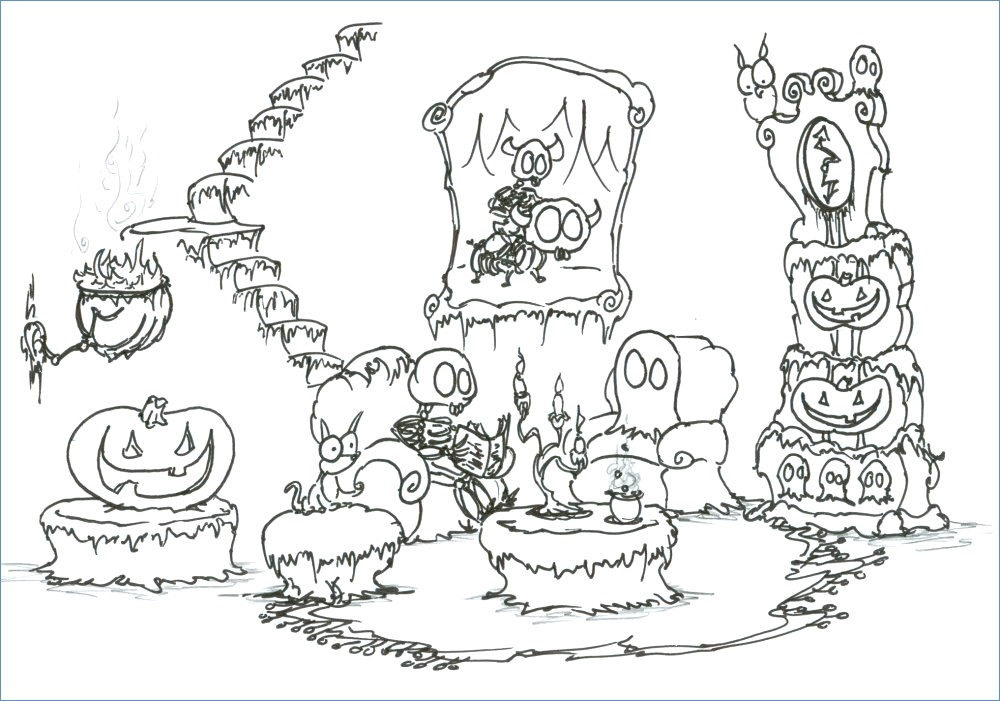 1000x701 Scary Cat Halloween Coloring Pages