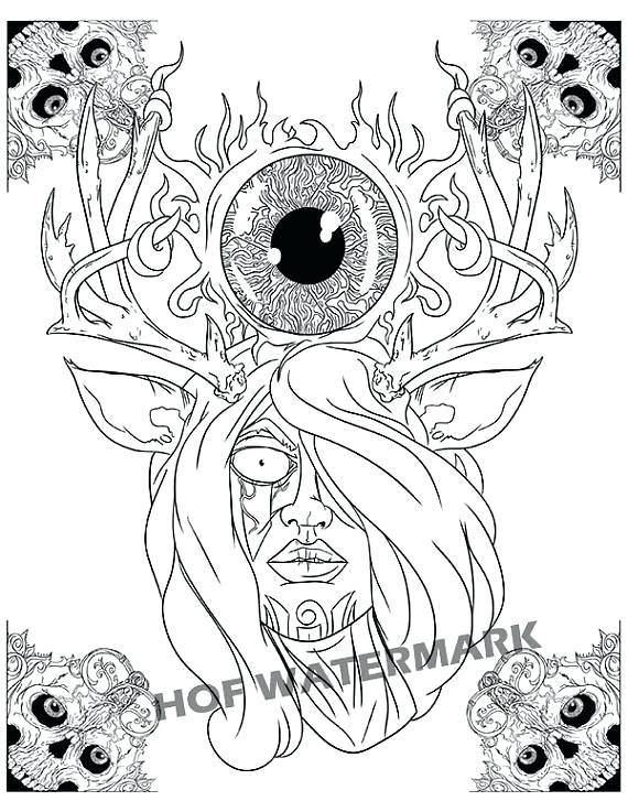 570x737 Creepy Coloring Creepy Coloring Pages Adults