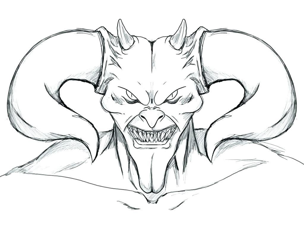 1024x766 Scary Coloring Pages Scary Coloring Pages Devil Face Clown Scary