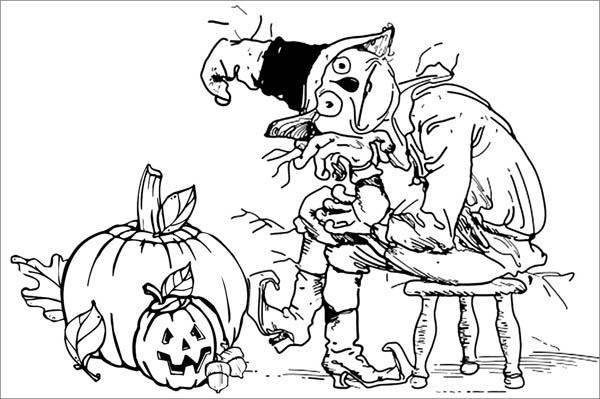 600x399 Creepy Scarecrow Pumpkins Coloring Page Creepy Scarecrow