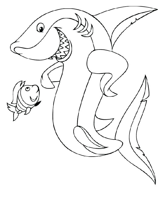 621x800 Shark Color Page Shark Color Pages Cute Hammerhead Shark Coloring
