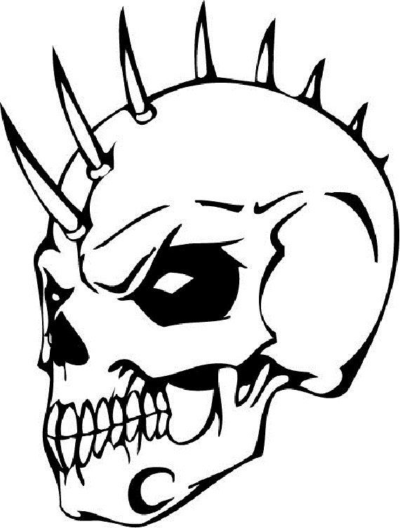 570x753 Scary Skeleton Coloring Pages Skull Coloring Pages Punk