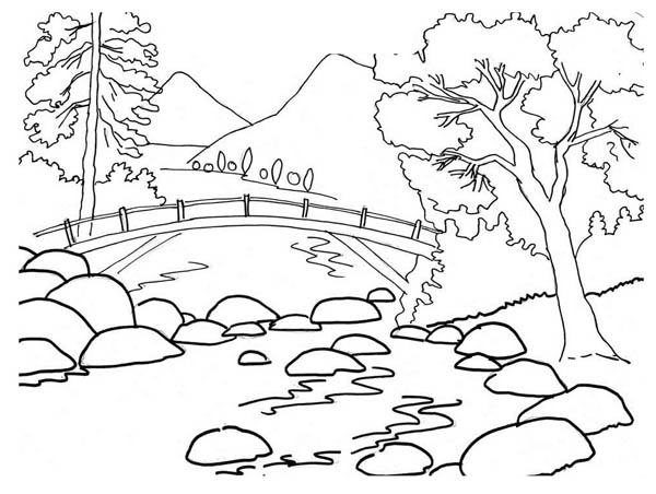 600x452 Scenery Coloring Pages To Print Landscape