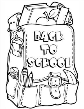 290x374 School First Day Of School, School Bus Coloring Page, School Bag