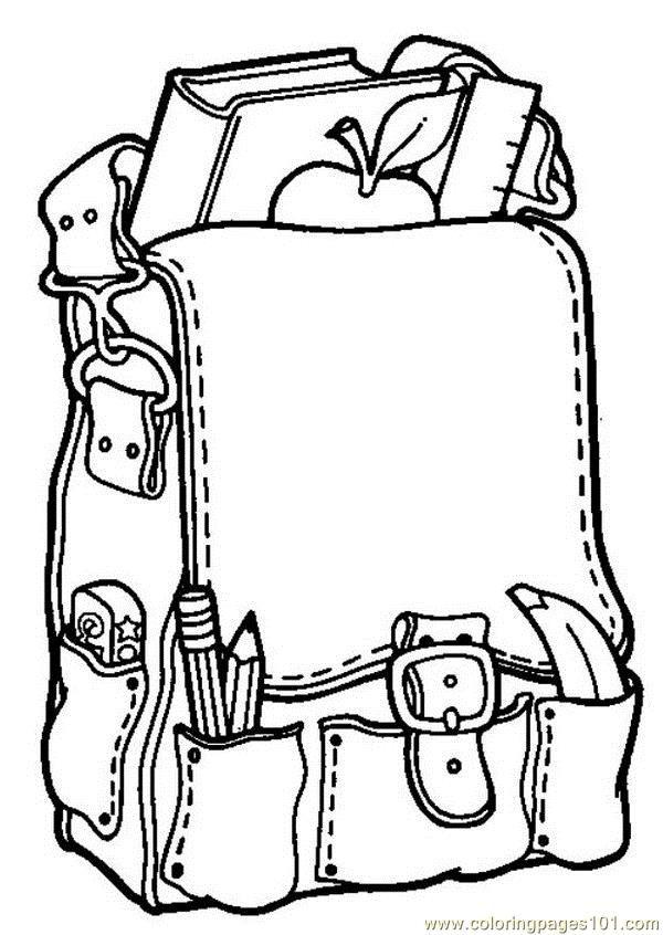 600x846 School Bag Coloring Page