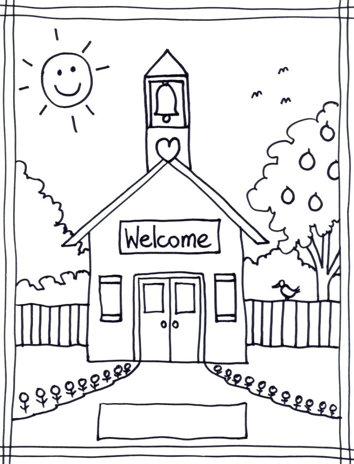 728x955 School Building Coloring Pages Coloring Pages Of School House