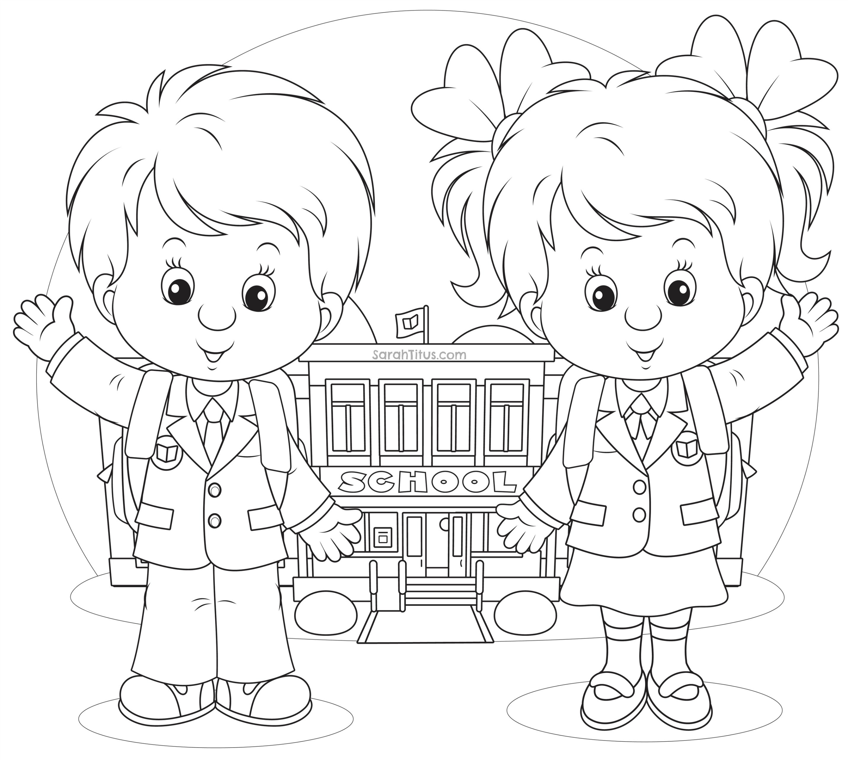 2862x2565 School Objects Coloringges Print Preschool House Building To Back