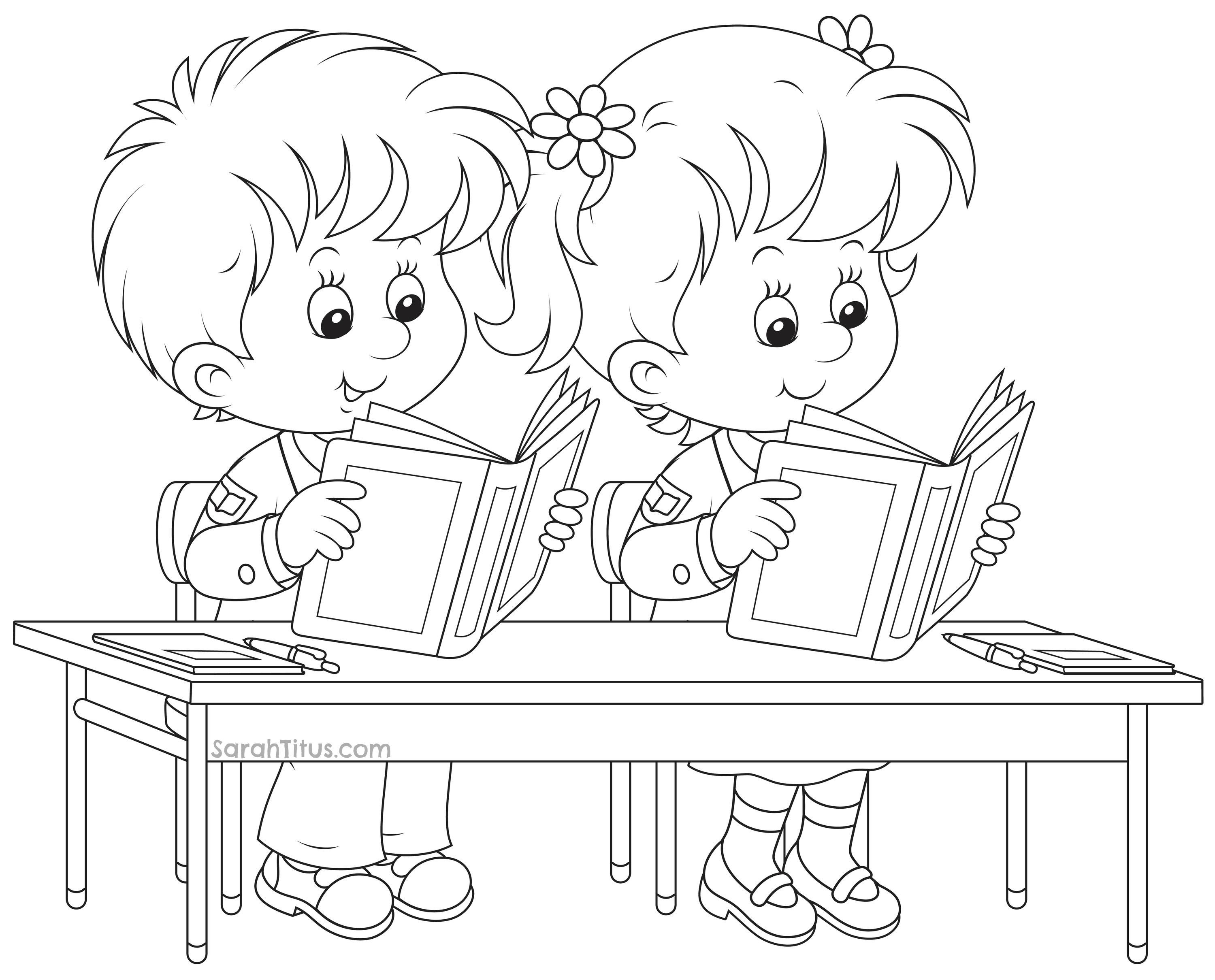 3000x2420 Building Coloring Page School Classes For Kids Printable Free