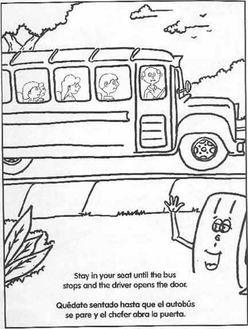 852x1130 Bus Printable Coloring Page Imaginethispromo School Safety Rules
