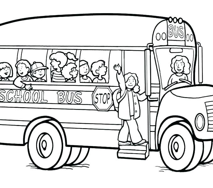 678x600 School Bus Coloring Page