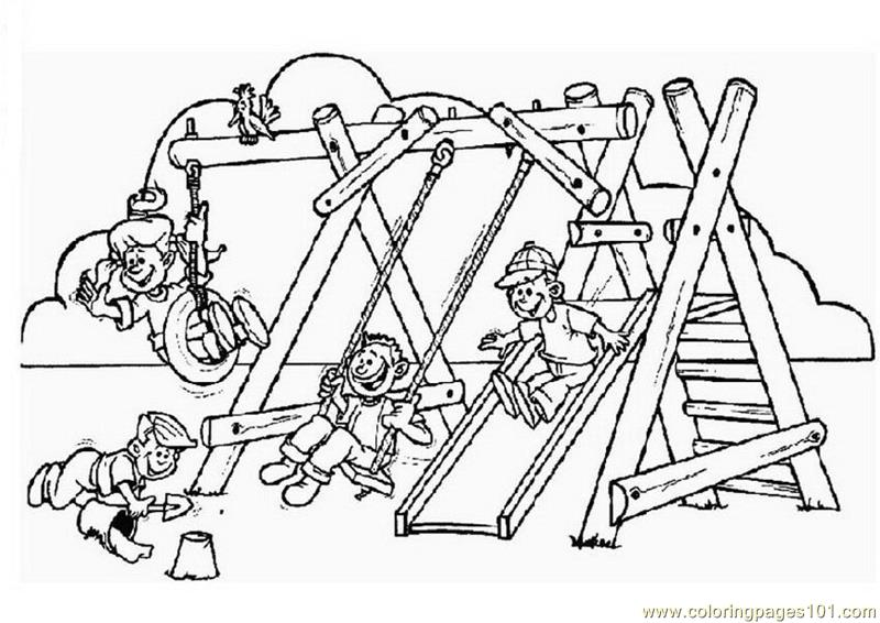 800x566 Children Enjoying Games Coloring Page