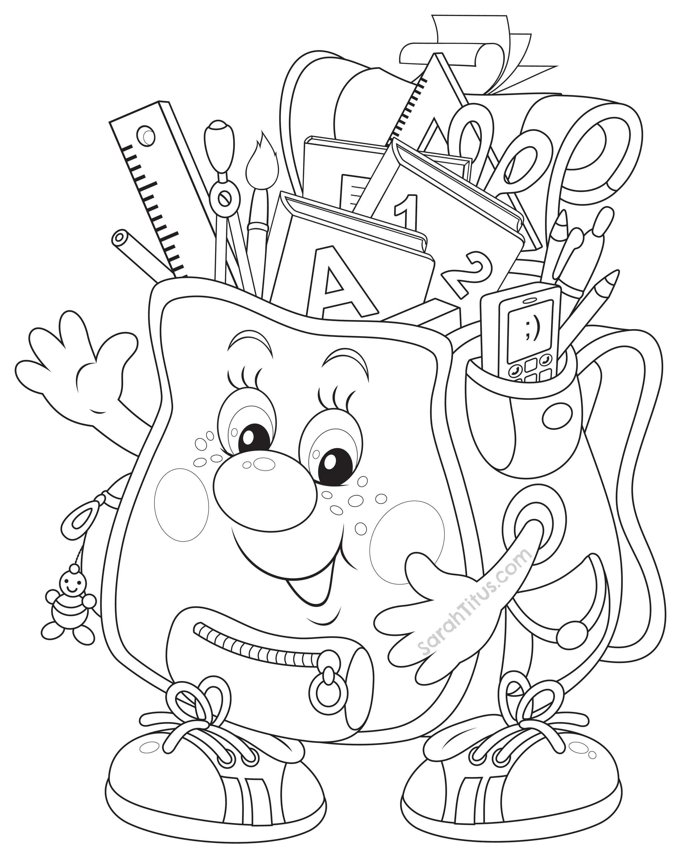 2370x3000 Back To School Coloring Pages School Colors, School And Craft