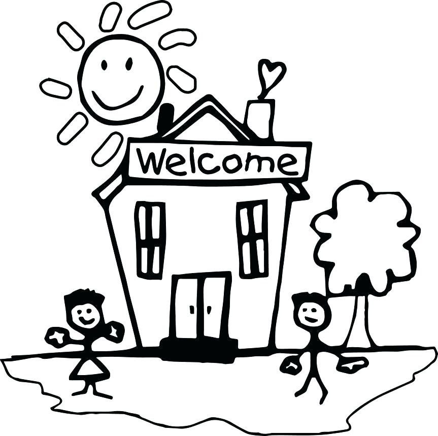 863x859 Building Coloring Page School Building Coloring Pages Back