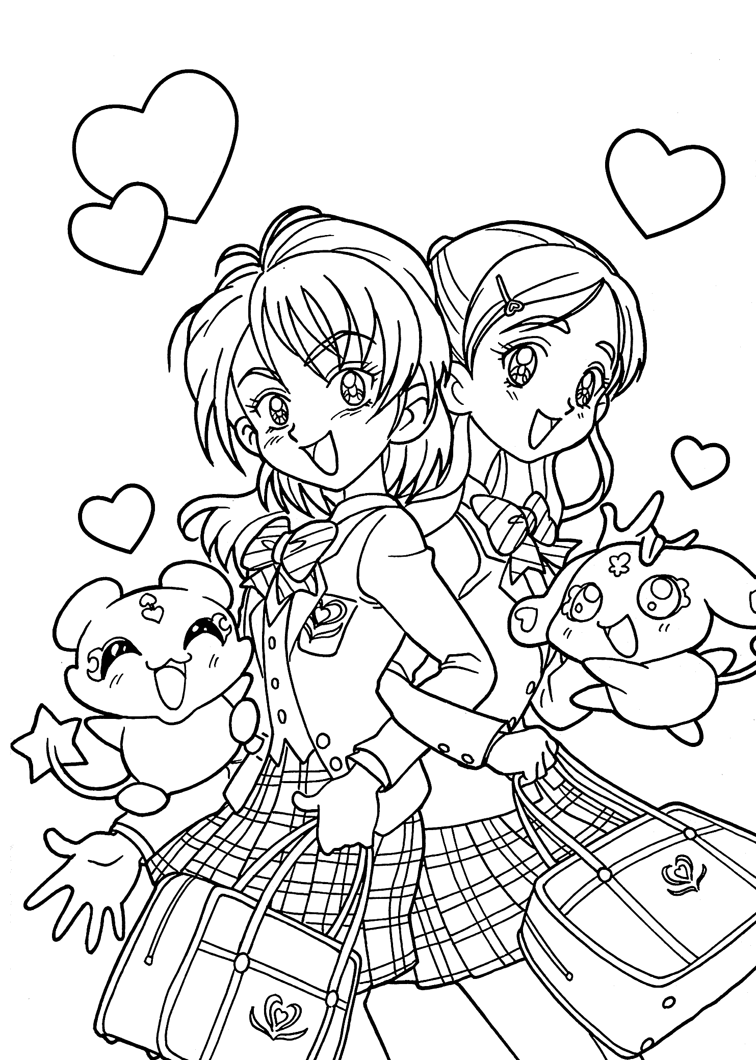 1483x2079 Anime School Girl Coloring Pages Collection Free Coloring Sheets